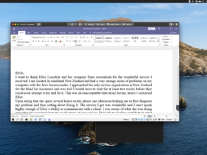Screen grab of Word document as seen from Team Viewer